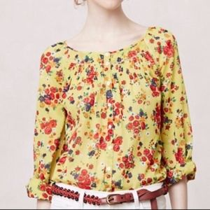 Anthropologie Postmark Yellow Floral Blouse size 4